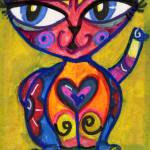 """MEXICAN FOLK ART LOVE CAT"" by pauladileo"