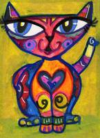 MEXICAN FOLK ART LOVE CAT