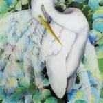 """Grape Leaf Egret"" by AlexanderArt"