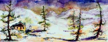 Little House In The Mountains Watercolor by Ginett