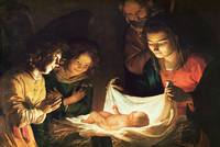 Adoration of the Baby by Honthorst