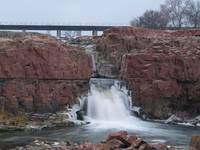 Side Falls of the Sioux Falls in Ice Storm