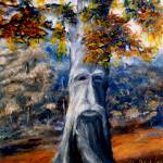 """Fantasy Art: Tree with Face in Blues and Oranges"" by Lenora"