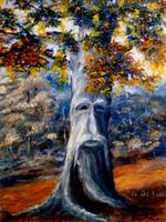 Fantasy Art: Tree with Face in Blues and Oranges