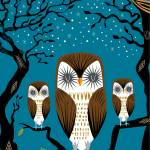 """""""Three Lazy Owls - Limited Edition Print"""" by iotaillustration"""