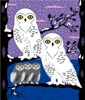 Snowy Owls and Offspring - Limited Edition Print