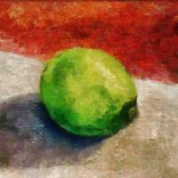 Lime Still Life with Grey and Red