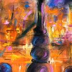 """Street Light Paris France Oil Painting by Ginette"" by GinetteCallaway"