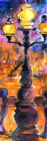 Street Light Paris France Oil Painting by Ginette