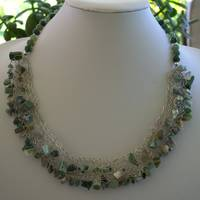 Crocheted Moss Agate Collar