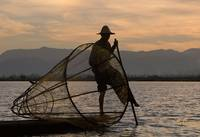 Inle lake fisherman at sunset