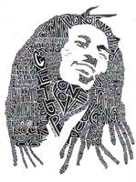 Bob Marley Black & White Word Portrait