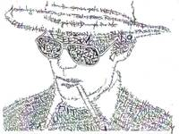 Hunter S. Thompson Black & White Word Portrait