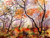 In to the Autumn Mist ! Watercolor by Ginette