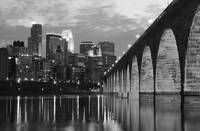 Minneapolis Stone Arch Bridge Black and White