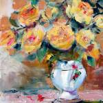 """Yellow Roses Oil Painting by Ginette"" by GinetteCallaway"