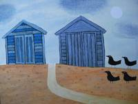 Beach Huts and Crows, Winter