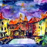 """Night Over Annecy Watercolor by Ginette"" by GinetteCallaway"