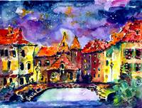 Night Over Annecy Watercolor by Ginette