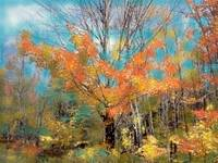 Fall Landscape Art Print, Autumn Leaves, Fall