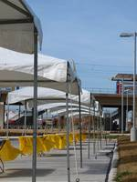 Tents at a Light Rail Station Opening
