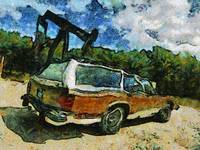 Wagon at oil well