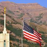 """Mount timpanogos temple summer shot flag"" by houstonryan"