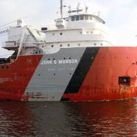 Ship John G. Munson entering the Duluth harbor by Lisa Rich