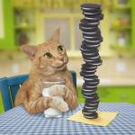 """Orange Tabby Cat With Pile of Cookies and Milk"" by StephanieDRoeser"