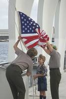 Young Chapman onboard the USS Arizona Memorial