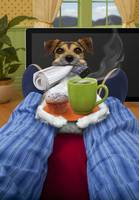Father's day Jack Russell Terrier bringing coffee