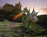 Fire breathing dragon approaching castle at sunset