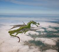 Dragon flying over cities houses and clouds