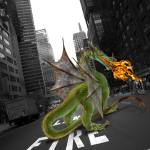 """Fire breathing dragon in city street"" by StephanieDRoeser"