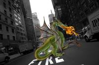 Fire breathing dragon in city street