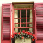 """Red Shutters with Begonias"" by StephyD"