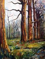 Early Spring - Trees Painting by Ginette