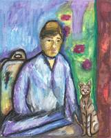 Lady with Cat, Watercolor Art Print