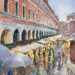 """Snow on Rialto Bridge market in Venice Italy"" by JonBradham"