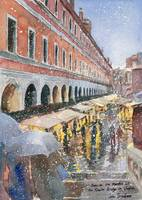Snow on Rialto Bridge market in Venice Italy