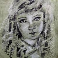 Lillian Gish Charcoal & Conte Portrait by Ginette