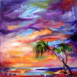 """Florida Beach & Palms Oil Painting by Ginette"" by GinetteCallaway"