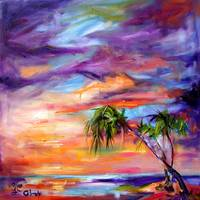 Florida Beach & Palms Oil Painting by Ginette