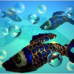 """Gilded Cobalt Fish"" by JoyceDickens"