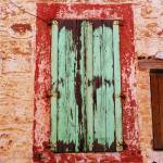 """Rustic Window with Green Shutters in Crete, Greece"" by arttraveler"