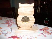 Owl mini wooden desk clock