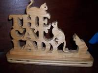 The Cat lady Wood display