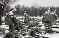 korean war memorial winter snow washington dc