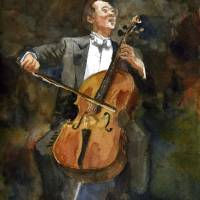 """The Joy of Cello, Yo Yo Ma Portrait Watercolor"" by schulmanart"