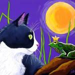 """Tuxedo Cat meets Frog King"" by LMNelsonArt"